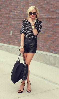 black leather shorts & blouse