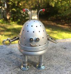 "New to LovableLeftovers on Etsy: Robot Sculpture Found Object Art Junk Art Robot Assemblage Art Tiny Robot - ""Love Bot"" (25.00 USD)"