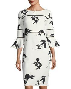 Bell-Sleeve Floral-Print Sheath Dress