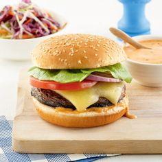 Burger de portobello et cheddar - 5 ingredients 15 minutes Portobello, Cheddar, Mini Pains, Finger Foods, Hamburger, Sandwiches, Tacos, Ethnic Recipes, Witchcraft