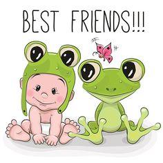 Bébé mignon dessin animé et de grenouille - Illustration vectorielle