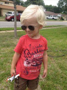 Long wavy hair for a toddler boy. Keep it shaggy!!