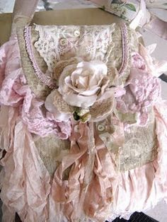 """So makes me happy:  the old, soft & almost """"tattered"""" look of the ruffles, the ribbons & the flowers ~ but I'd have to LOSE the PINK to make it mine! :: By """"paris rags"""" ..."""
