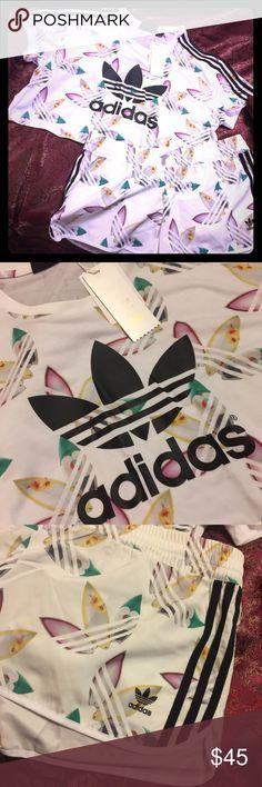 Adidas Tropic Print Crop Top & Shorts Set adidas Crop top and short set; tropic print. Brand new/ tags Adidas Other