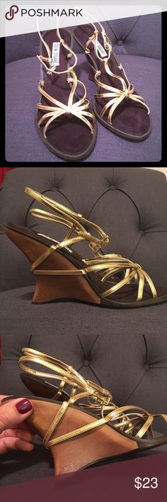"""Colin Stuart wood wedge shoe Beautiful wood Wedge shoe with gold leather straps- buckles around ankle. NWT! Never worn! Comes in original box. 3"""" heel. Colin Stuart Shoes Wedges"""