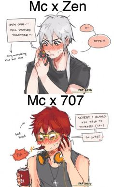 Mystic Messenger- Mc, Seven (Choi Saeyoung /Luciel)(707), and Zen (Ryu Hyun) #Otome #Game #Anime. Susanghan Messenger