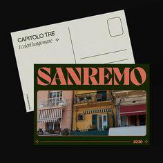 A postcard from Sanremo - Personal project on Behance Postcard Layout, Postcard Design, Graphic Design Print, Graphic Design Inspiration, Collateral Design, Branding Design, Calendar Design, Life Design, Design Reference