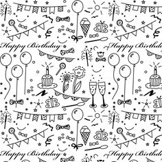 Today I created a free printable birthday pattern in black and white for you.    Color it or decorate it with a little bit of glitter ...