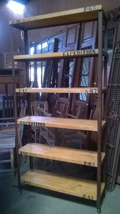 Estante Industrial Praleiras Madeira E Ferro 1,99 Altura - R$ 1.998,00 no MercadoLivre Bar Unit, Simple Furniture, Wood Steel, Barista, Wood Pallets, Industrial Design, Inventions, Craft Projects, Woodworking