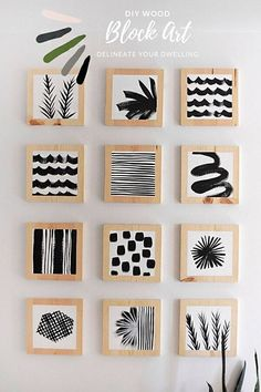 Learn how to make flush DIY Wood Block Art to hang in your home.  A simple DIY project that brings a big look with very little expense. Delineate Your Dwelling Diy Artwork, Artwork Ideas, White Acrylic Paint, Easy Diy, Simple Diy, Wood Blocks, Glass Blocks, Painting On Wood, Block Painting