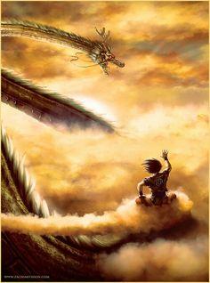 Goku on flying nimbus waving at the eternal dragon