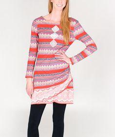 Love this Orange Geometric Wrap Dress on #zulily! #zulilyfinds