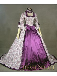 Purple Floral Pattern Marie Antoinette Victorian Dress
