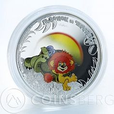 Cook Island 5 Dollars Lion & Turtle Soyuzmultfilm Soiuzmultfilm Silver coin 2011