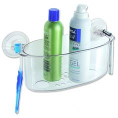 This clear moulded acrylic oval shower basket has a unique power locking system for extra strength and to ensure it stays in place. It has drainage holes in the base enabling your hygiene products to dry off after shower use. It has a toothbrush holder at one end and a razor holder at the other end.Easy application, unique suction locking system, no hardware needed.10 H x 26 W x 9 D cm