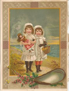 Antique Images: Free Digital Frame Graphic: Victorian Clip Art of 2 Girls on Beach Graphics Fairy, Vintage Postcards, Vintage Images, Vintage Labels, Vintage Ephemera, Vintage Items, Prayers To Mary, Vintage Artwork, Vintage Illustrations