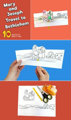 Mary and Joseph Travel to Bethlehem Craft Bible Activities For Kids, Bible Crafts For Kids, Christmas Activities, Sunday School Lessons, Sunday School Crafts, Classroom Crafts, Preschool Crafts, Joseph Crafts, Bible Story Crafts