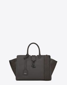 2d44c36c210 SAINT LAURENT Small Monogram Saint Laurent Cabas Bag In Dark Anthracite  Leather And Crocodile Embossed Leather