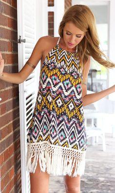 Gorgeous summer boho print dress with tassels