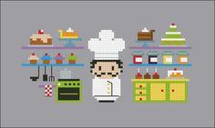 Luigi, the King of the Bakery - Cross Stitch Patterns - CloudsFactory