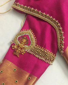New Embroidery Blouse Indian Sleeve Ideas Cutwork Blouse Designs, Kids Blouse Designs, Hand Work Blouse Design, Wedding Saree Blouse Designs, Simple Blouse Designs, Stylish Blouse Design, Blouse Neck Designs, Hand Designs, Wedding Sarees
