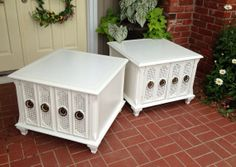 These may have had a Hollywood Regency look with their original surfaces (inside and out), but their just contemporary  Etsyverse painted furniture now.