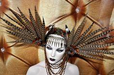 Pheasant feather headdress by PoshFairytaleCouture, via Etsy