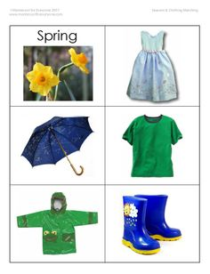 Seasons match clothing cards - great for pocket chart sorting! (other spring related learning on link) Seasons Activities, Weather Activities, Spring Activities, Preschool Activities, Clothing Themes, Clothing Sets, Clothing Stores, Kids Clothing, Sorting Clothes