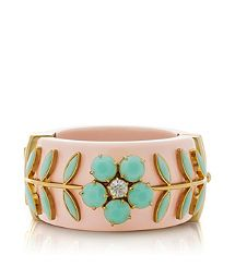 Someone please buy me this...so adorable and sophisticated all at once. Tory Burch CECIL FLORAL RIVIERA HINGE BRACELET