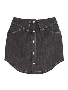 shirt collar dark denim skirt