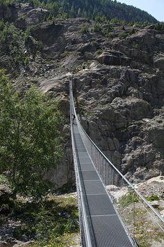Hanging bridge over aletsch glacier, switzerland