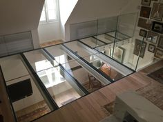 Vertigo Design with this extra clear glass floor by Trescalini - Escaliers, structures et garde-corpsArchiExpo Loft Design, House Design, Compact House, Glass Floor, Attic Spaces, Luxury Interior Design, Glass House, Interior Design Living Room, Home And Living