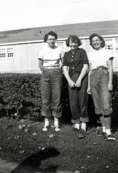 The Bobby Soxers: Late 1940's or early 1950's teens with rolled up jeans bobby sox, and a pair of saddle shoes. The caption on its back reads: 'Rose between two thorns / Aileen, Doc, and Jackie'