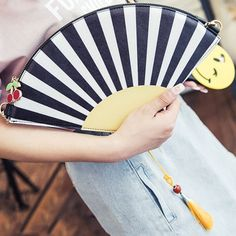 $11.22 Novelty Women's Crossbody Bag With Hand Fan Shape and Color Block Design