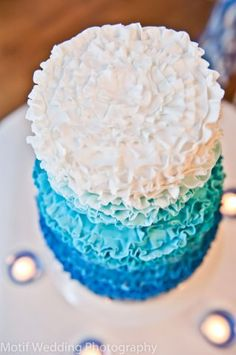 (c) Motif Photography Water themed wedding cake ombre ruffled cake Curtis & Co @Jennie Brooks