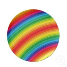 #Rainbow #Stripes #Pattern #Dinner #Plates $28.10
