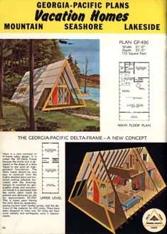 A-frame house plans for second homes & family vacation cabins: 12 retro designs from the & - Small Cabin Plans, A Frame House Plans, Cabin House Plans, A Frame Floor Plans, Cabin Design, Rustic Design, House Design, Bungalow, Kabine