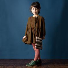 Caramel Baby & Child - Olive Green Cotton Dress | CHILDRENSALON