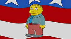 """The long-running Simpsons cartoon has made every possible joke as pointed out in the South Park episode """"Simpsons Already Did It."""" Donald Trump isn't the first comical candidate to be elected President. Springfield nominated its resident simpleton, Ralph Wiggum (Nancy Cartwright), in """"E Pluribus Wiggum.""""    http://l7world.com/2016/03/donald-trump-candidacy-simpsons.html"""