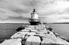 'Spring Point Ledge Light In Black And White' by Jenny Hudson