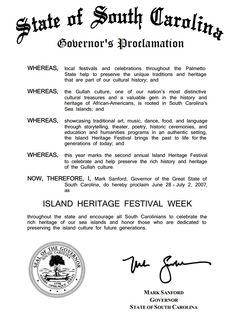 This proclamation from Governor Mark Sanford proclaims June 28 – July 2, 2007 as Island Heritage Festival Week. http://dc.statelibrary.sc.gov/handle/10827/4374