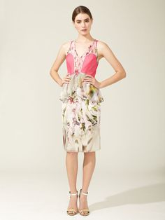 Vera Wang Printed Chiffon Flutter Dress
