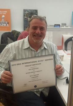 A nice little Echo Finalist award. — with Bill Bonomo, Julia Miller and Heather Paterson Cavallo at o2kl Advertising.