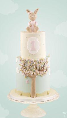 Little Cherry Cake Company - Bunny Cake Bolo Laura, Bolo Cake, Tier Cake, Rabbit Cake, Baby Birthday Cakes, Cherry Cake, Girl Cakes, Baby Cakes, Cute Cakes
