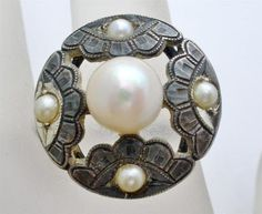 Antique 950 Pearl Ring Sterling Silver Engraved Cultured Signed CPO NSS | eBay