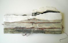 The Border Crossed Me, Monique Janssen-Belitz, 2010 watercolor, crayon, acrylic ink, raffia, acrylic paint,