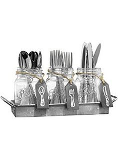 Galvanized utensil holder ~ #fixerupper #fixerupperstyle