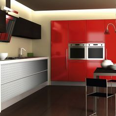Red Modern Kitchen featuring SIBU Decorative Surfaces