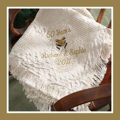 "Practical and personalized, this 50"" x 60"" anniversary afghan blanket makes a memorable gift. #afghan #anniversary #giftideas"