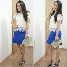 Look por @paaolasantanaa - Saia azul e camisa rendada - Crente chic, garotas cristã, menina evangélica
